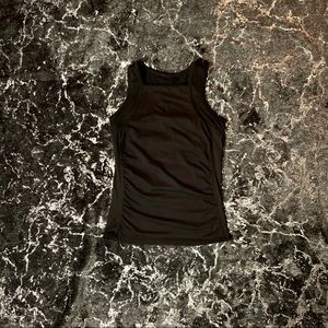 Black High Neck Fitted Workout Tank Top w/ Bra